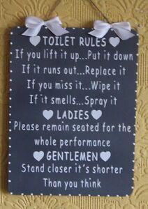 Image is loading Handcrafted-Wooden-Bathroom-Sign-TOILET-RULES-LADIES -GENTLEMEN-