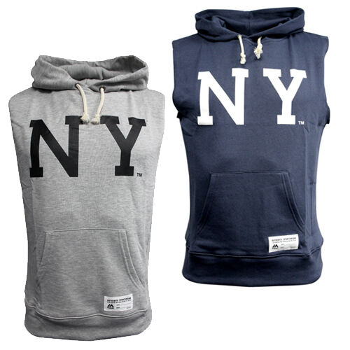 Majestic New York NY Sleeveless Hooded Pull Over Jumper Mens Grey Navy Hoody