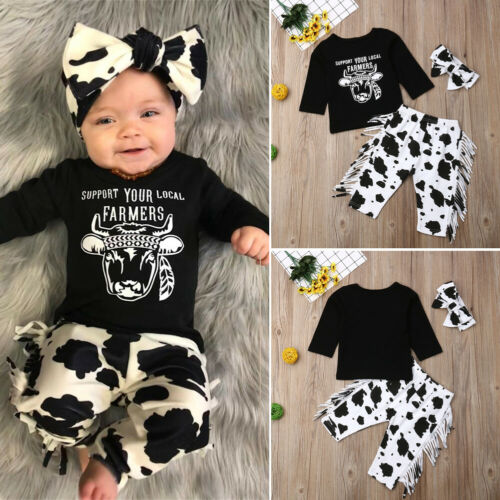 US Infant Baby Boy Girl Shirt TopFloral Long Pants Trousers Headnband Outfit