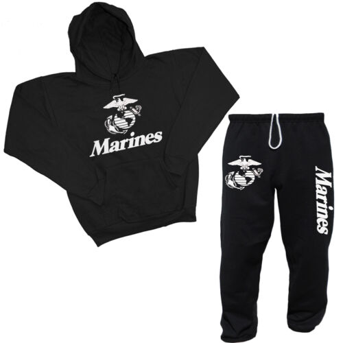 US Marines sweatpants USMC sweatshirt outfit sweatsuit Men/'s black tracksuit set