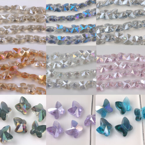 Lots Papillon 10//20Pcs Verre Cristal Charms Spacer Beads Jewelry Making 8*5mm