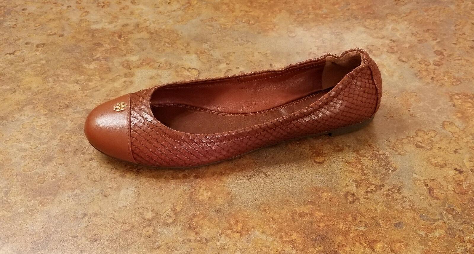 l'intera rete più bassa New  Tory Burch 'York' Snake Ballet Flats Marrone Leather Leather Leather donna 7.5 M MSRP  228  prezzo ragionevole