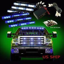 54 LED Car Truck Strobe Emergency Warning Light for Deck Dash Grill White Blue