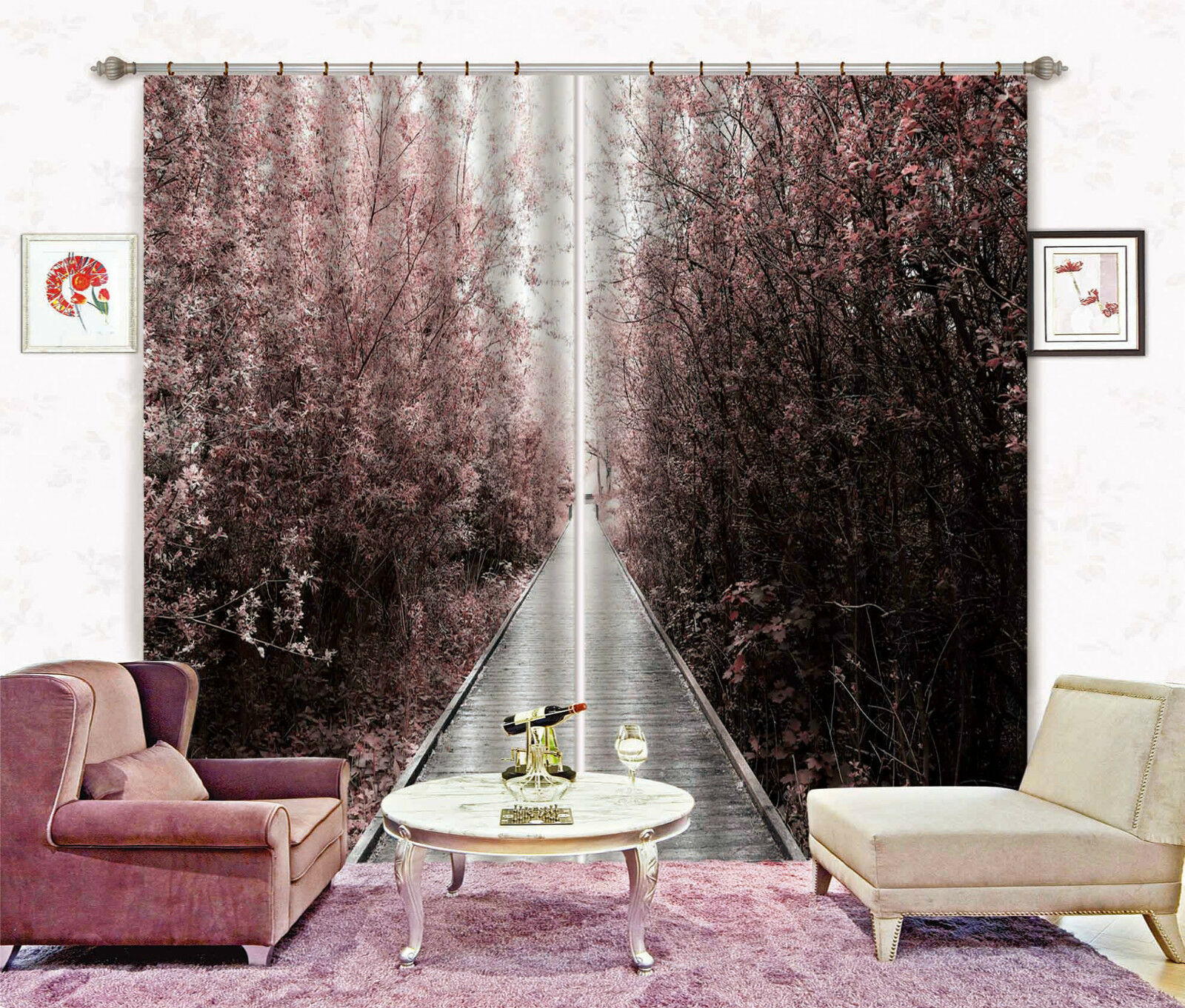 3d árbol pista 4375 bloqueo foto cortina cortina de impresión sustancia cortinas de ventana