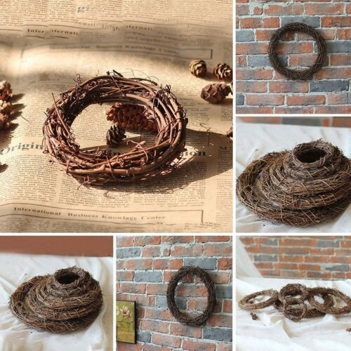 Christmas Natural Dried Rattan Wreath Xmas Garland Home Door Wall DIY Decor