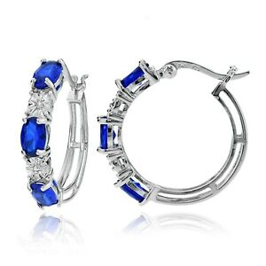 Sterling-Silver-Oval-Created-Blue-Sapphire-and-Diamond-Accent-Hoop-Earrings