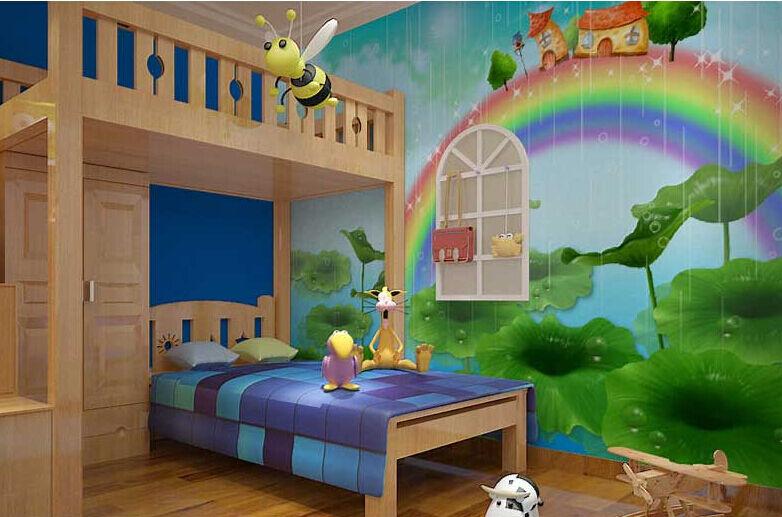 3D Regenbogen-Pilze03 Fototapeten Wandbild Fototapete Bild Tapete Familie Kinder