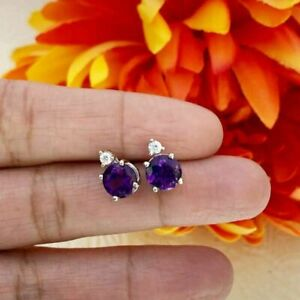 4-00Ct-Round-Cut-Purple-Amethyst-Stud-Earrings-Push-Back-14K-White-Gold-Finish