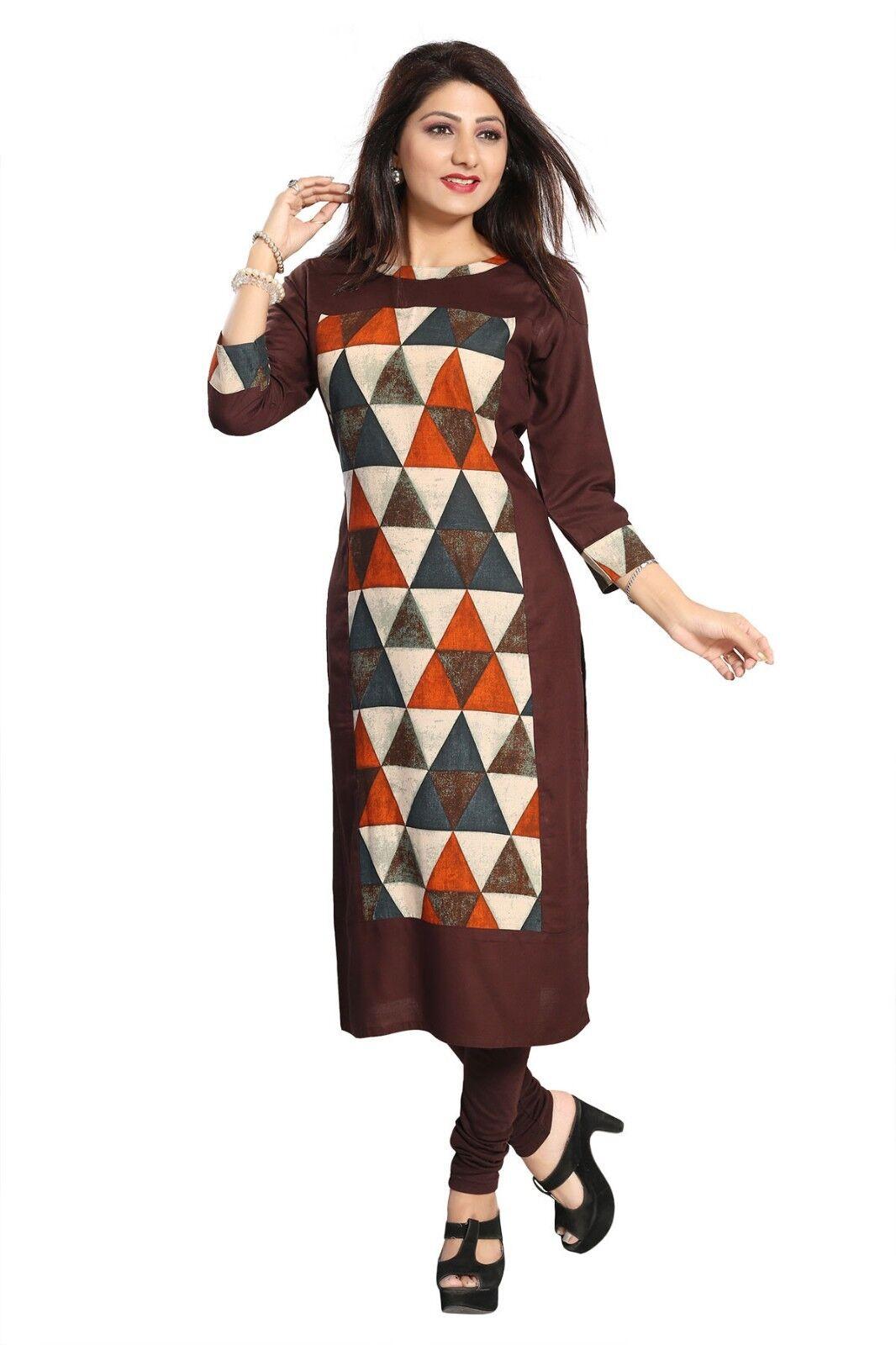 UK-Stock New Gorgeous Long Indian Rayon Embroidered Tunic Kurtis Kurta Tops