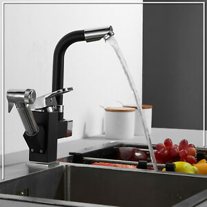 Kitchen Sink Mixer Taps 360° Swivel Spout With Pull Out Spray Faucet /& 2 Hose UK