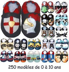 250-modeles-de-chaussons-en-cuir-souple-Bebe-enfant-Garcon-de-0-a-10-ans-NEUFS