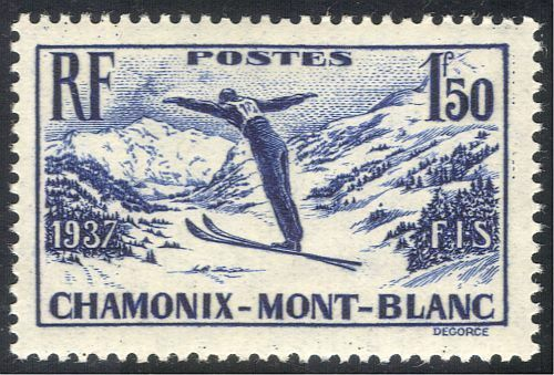 FRANCE 1937 CHAMONIX-MONT BLANC/SPORT/SKI/SKIEUR/Jeux/animation 1 V (n42999)