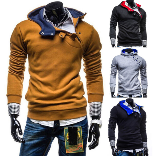 Men's Slim Long Sleeve Casual Partiss Hoodies Pullover Sweatshirt Jacket Outwear