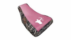 Honda-Rancher-Seat-Cover-2004-To-2006-Pink-Top-Bow-Hunter-Logo-Camo-Sides-G6TR4