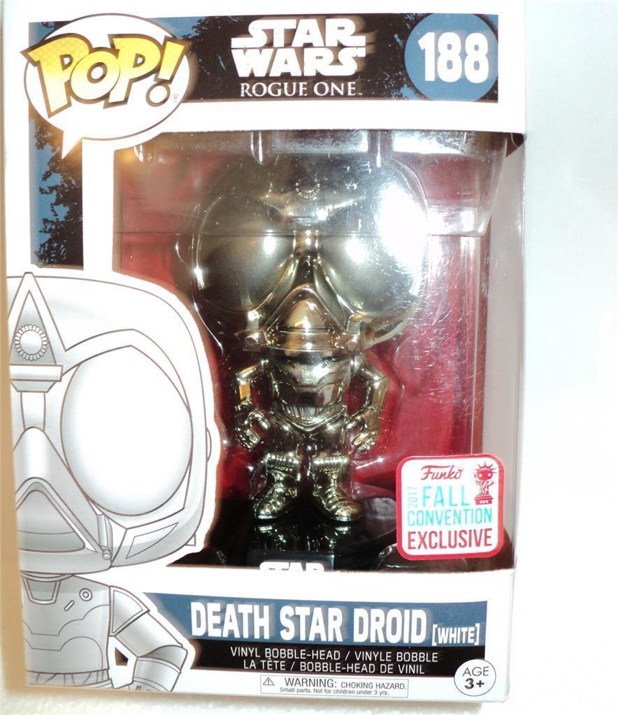 Funko Pop  Vinilo 2017 Sdcc Exclusivo Estrella Wars  188 estrella de la muerte Droid Figura sin usar y en caja sellada