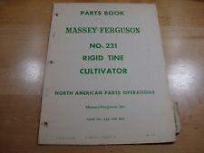 Massey Ferguson No 221 Rigid Tine Cultivator Parts Catalog Manual Book 1960