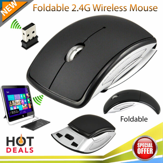 USB Foldable Optical Wireless Mouse Mice Scroll Wheel Mini Receiver PC Laptop UK