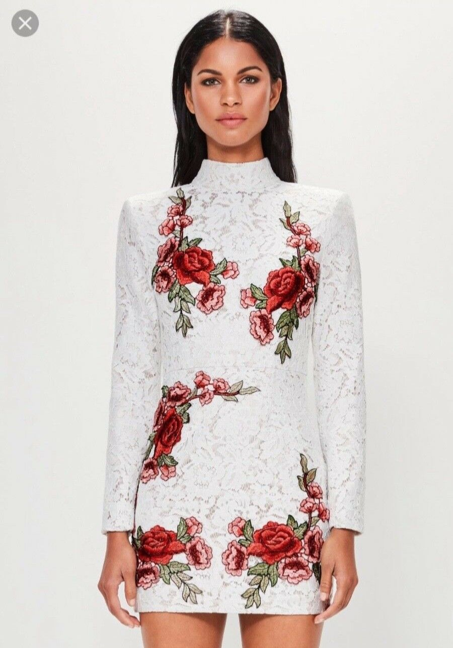 Missguided white floral lace dress size Small NWT