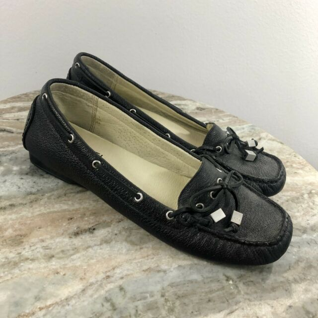 5f4d50e04ba MICHAEL KORS BLACK LEATHER WOMENS LOAFERS SZ 7.5M IN GOOD CONDITION -V