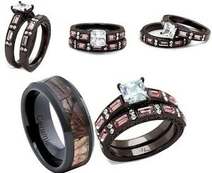 HIS CERAMIC CAMO AND HER 345 CT PINK BROWN CZ STAINLESS STEEL WEDDING RING SET