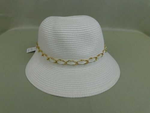 August Hats Woven Straw Chain Detail Packable Cloche Hat White-Gold #C310