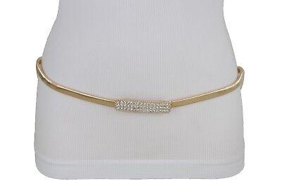Women Red High Waist Hip Elastic Fashion Belt Bling Beads Metal Buckle S M L