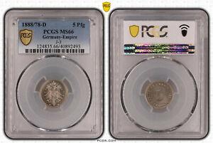 5 Pfennig 1888 D aus 1878 D Munich Mint PCGS zertifiziert pcgs MS 66 59110