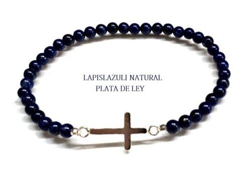 PULSERA CRUZ HORIZONTAL PLATA de LEY 925 y LAPISLAZULI Natural Nueva ref.C52