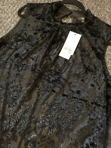 Stunning-Black-sleeveless-party-top-next-new-size-22