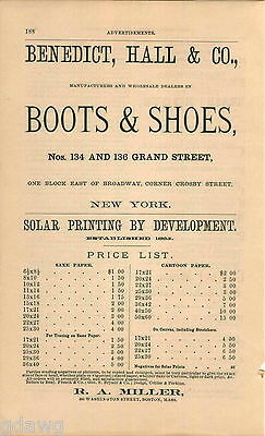 1876 Advert Benedict Hall & Co Boots & Shoes Miller Cartoon Paper Solar Printing At All Costs