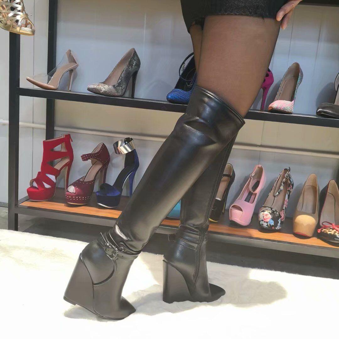 ELEGANT Women Knee High Boots Wedge Pointed Toe Heel Heel Heel Boots shoes Big Size 4-15 203a46