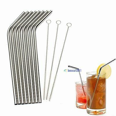 8X Stainless Steel Metal Drinking Straw Reusable Straws + 3 Cleaner Brush Kit DA