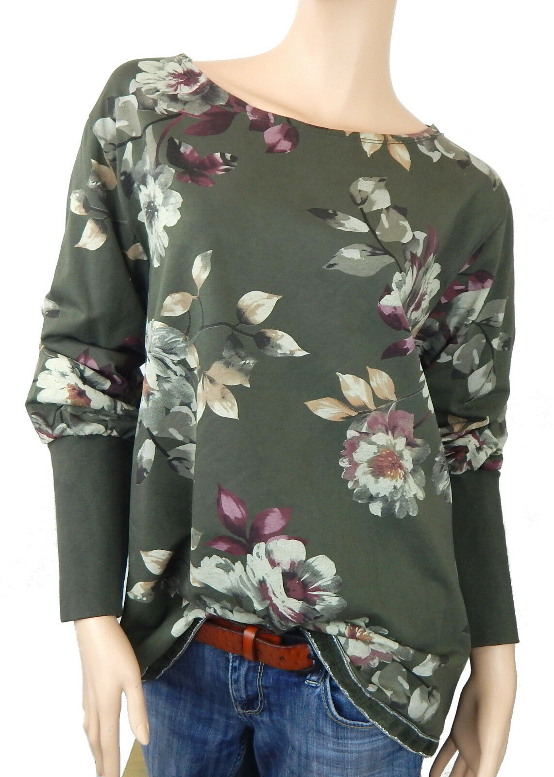 Ella Jonte Sweatshirt Green Sweat Sweater 44 46 Flowers Made in  Cotton