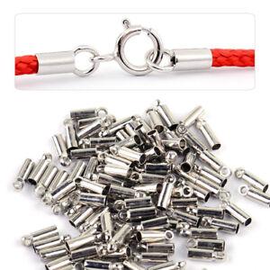 100-Silber-Endkappen-Fuer-Schmuckverschluss-Lederband-Perlen-Basteln-Findings-Neu