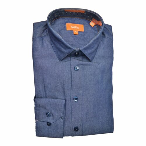 Tallia Orange Men/'s Cotton Denim Fitted Button Down Casual Dress Shirt Blue