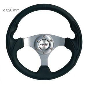Simoni-Racing-Volante-Universale-Interlagos-in-Ecopelle-Nera-Liscia-da-320-mm