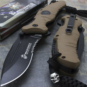 8-25-034-MTECH-USMC-RUBBER-HANDLE-SPRING-ASSISTED-FOLDING-KNIFE-Blade-Pocket-Open