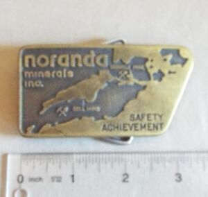 Details about VINTAGE NORANDA MINERALS SAFETY ACHIEVEMENT BELT BUCKLE BELL  MINE GRANISLE MINE