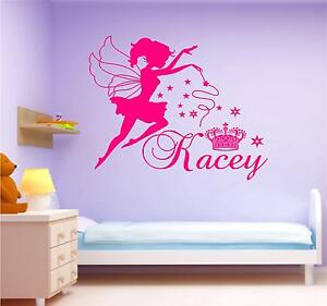 Image is loading FAIRY-AND-PRINCESS-CROWN-wall-art-girls-bedroom-  sc 1 st  eBay & FAIRY AND PRINCESS CROWN wall art girls bedroom sticker personalised ...