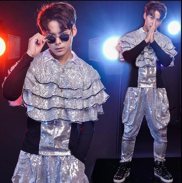 Men's Trendy Gothic Stage Costume Sequins Cape T-shirt Harem Pants Punk Sets 3PC