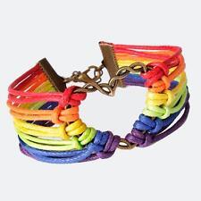 Fashion Jewelry Design Rainbow Flag Pride LGBT Charm Heart Braided Bracelet