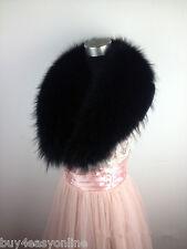 Black Real Raccoon Fur Collar scarf wrap shawl winter neck warmer 39.4inch F04