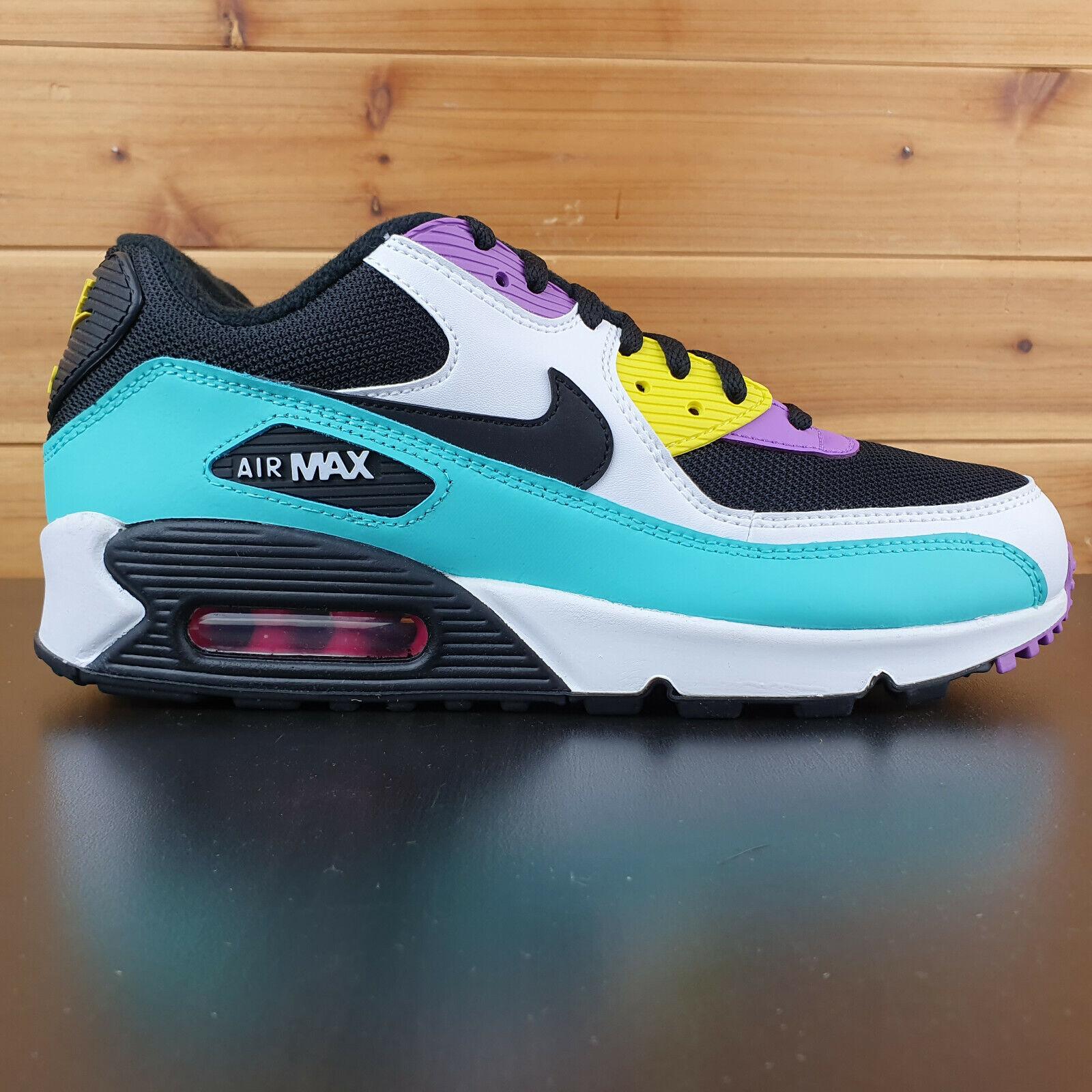 Nike Air Max 90 Essential Black White Bright Violet Shoes AJ1285 024 Men's
