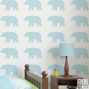 Image Is Loading Bear Stencil Kids Woodland Nursery Paint Wall