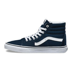 67c0a5b3cb Men s Vans Sk8-Hi Top Fashion Sneaker Core Classic Blue White Canvas ...