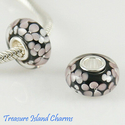 WHITE FLOWER BLACK LAMPWORK MURANO GLASS 925 Sterling Silver EUROPEAN Bead Charm