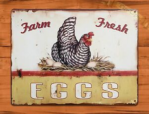 TIN-SIGN-Farm-Fresh-Eggs-Dairy-Rooster-Chicken-Decor-Farm-Barn-Coop