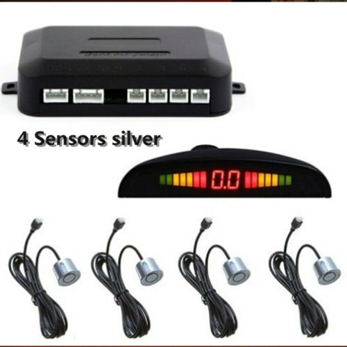 Silver 4 Parking Sensor Reversing Radar Wire Reverse Display Buzzer Alarm