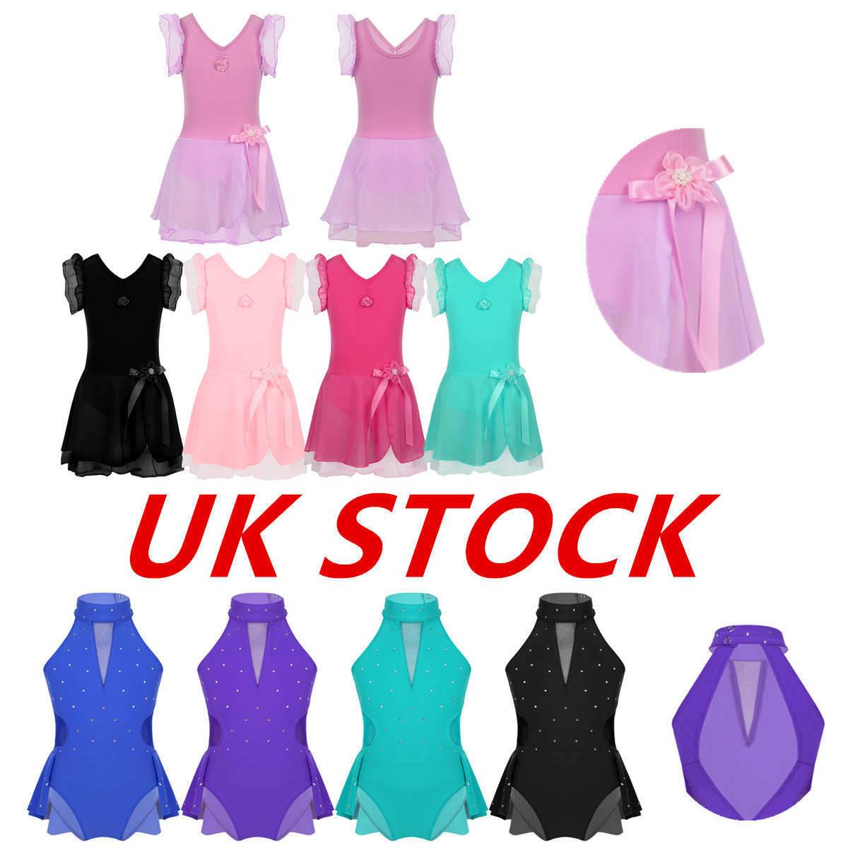 UK Kids Girls Roller Skating Dress Ballet Dance Gymnastics Tutu Dress Dancewear