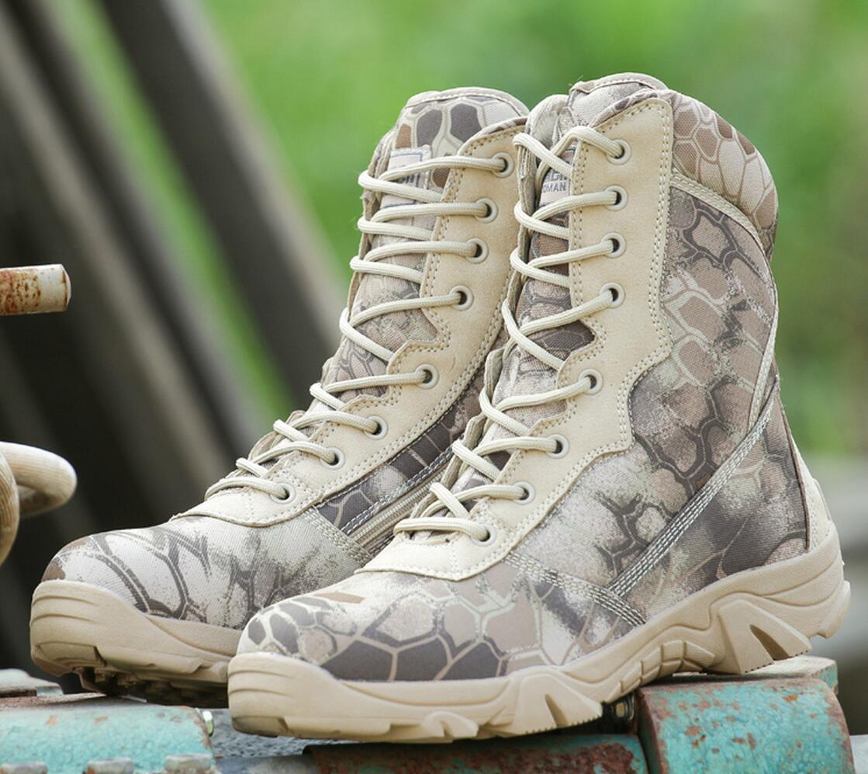 Men's High Top Pesca Caza Calzado botas Tácticas De Combate Desierto Python